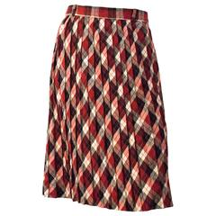 60s Red, Black & Cream Plaid Pleated Skirt