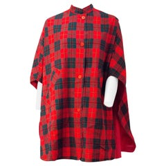 60s Red Plaid Reversible Poncho