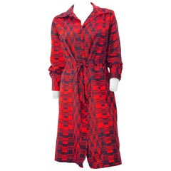 70s Red & Navy Blue Lanvin Button Up Dress