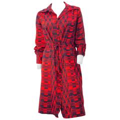 70s Red & Navy Blue Lanvin Button Up Dress