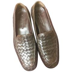 MINT. Vintage Bottega Veneta classic dark brown intrecciato leather shoes. EU38