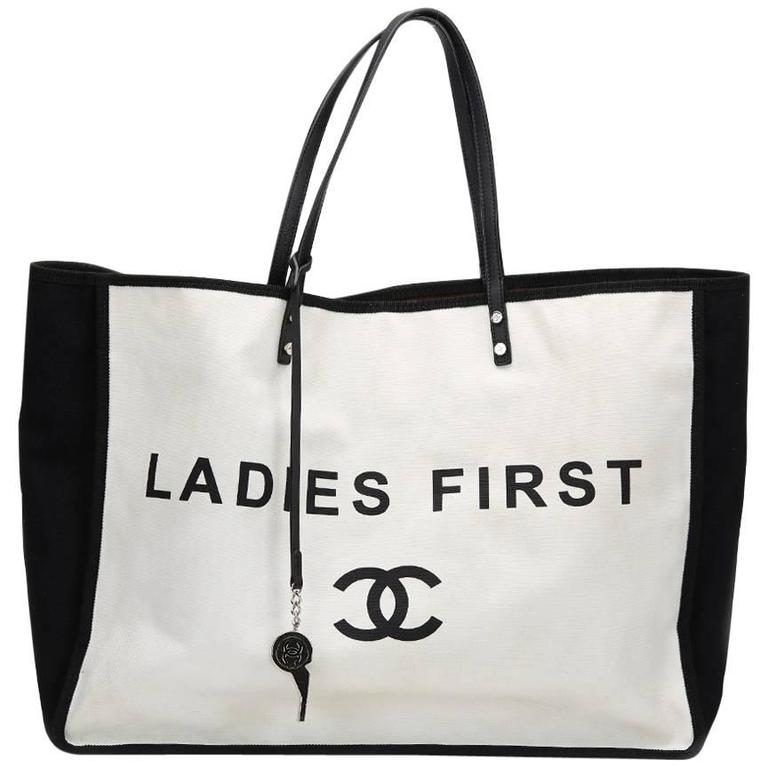 2010s Chanel Black & White Canvas Ladies First Shopper Tote 1