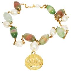 """Rare & collectable Chanel """"Jade"""" glass necklace of the late 80s"""