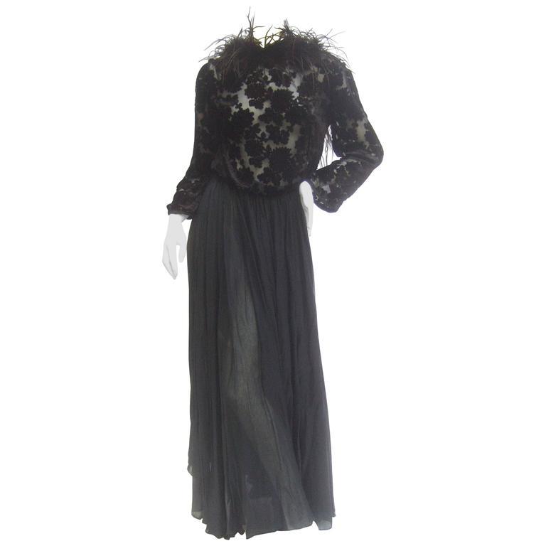 Saks Fifth Avenue Black Feather Trim Silk Chiffon Devore Gown C 1970