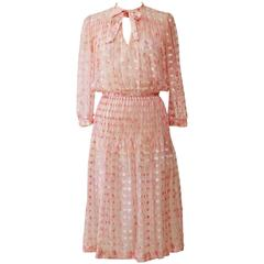 1970s COURREGES Pink Silk Pleateds Dress