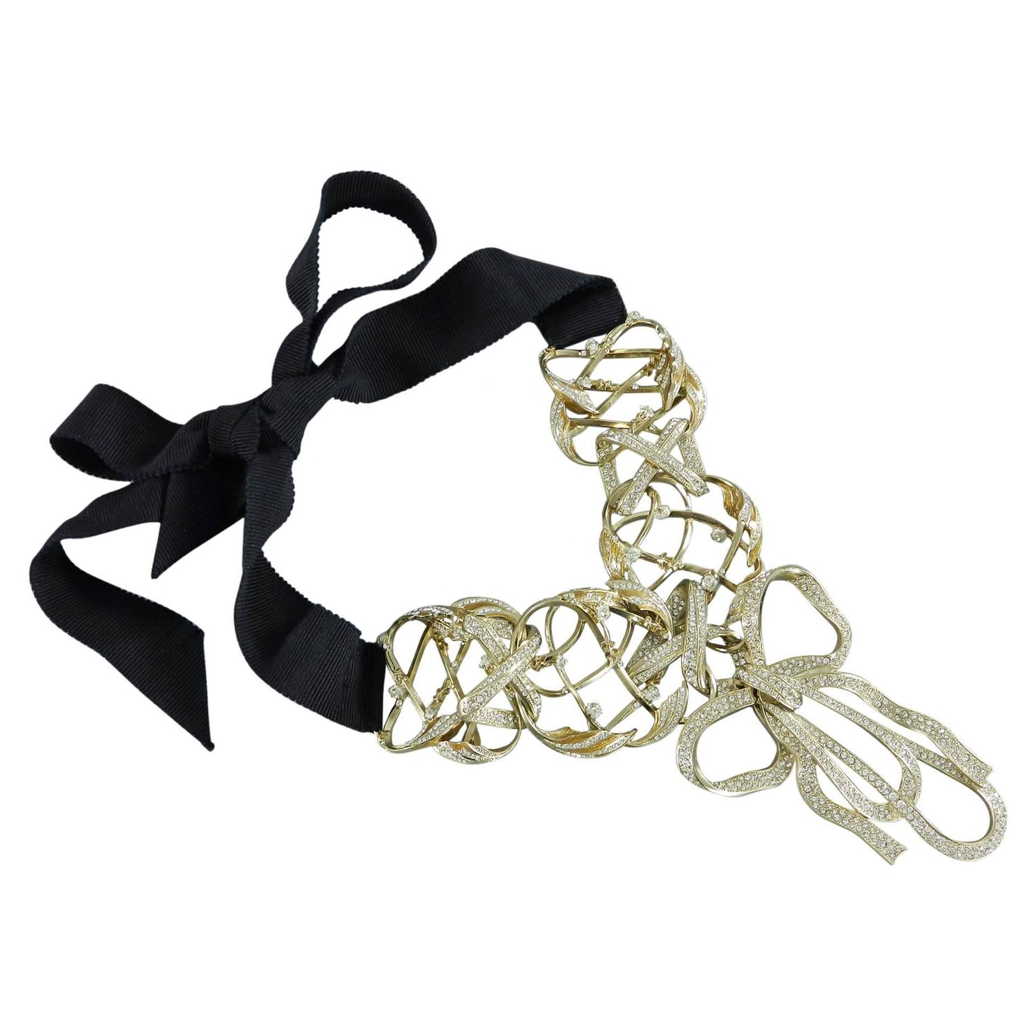 Chanel 13c runway crystal embellished bow necklace with for Ribbon tie necklace jewelry