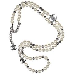 WOW Chanel Silver & Faux Pearl Necklace with 'CC' Logo Embellishment
