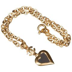 Chanel 'Mirrored Heart' Gold Pendant Necklace