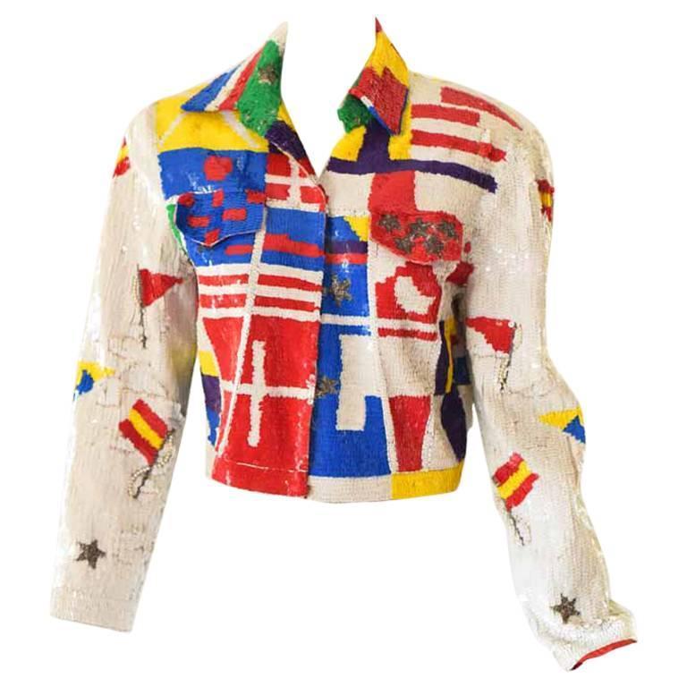 1980s Lillie Rubin Sequin Jacket For Sale