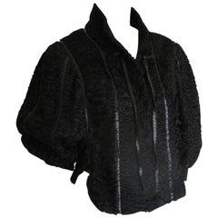 Exclusive Black Short Persian Lamb fur cape/jacket