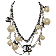 "Rare Chanel 2004 "" Coco On the Moon "" Pearl Chain Belt Necklace"