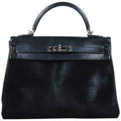 "Hermes Black Evercalf Box Calf Leather Ponyhair ""Retourne Troika Kelly"" 32cm Bag"