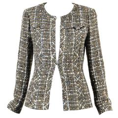 Chanel Olive Green Navy Cream Wool Tweed Sequin Open Jacket