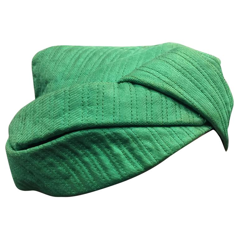 1960s Mr. John Kelly Green Quilted Turban Hat 1
