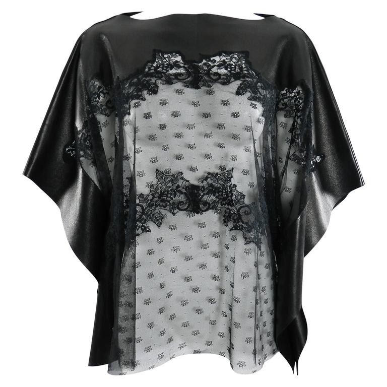 Valentino Black Lambskin Leather and Sheer Lace Caftan Tunic Top 1