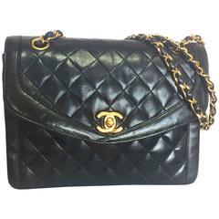 Vintage Chanel black lambskin chain shoulder 2.55 shoulder bag, pentagon flap