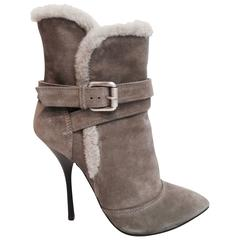 GIUSEPPE ZANOTTI Gray Suede Shearling Ankle Stiletto Boots 38