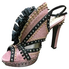 Prada Pink and Black Studded Platform Sandals w Leather Fringe at Vamp