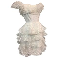 1980s Scaasi Tiered Ruffled Pointe D'Esprit Tulle Cocktail Dress