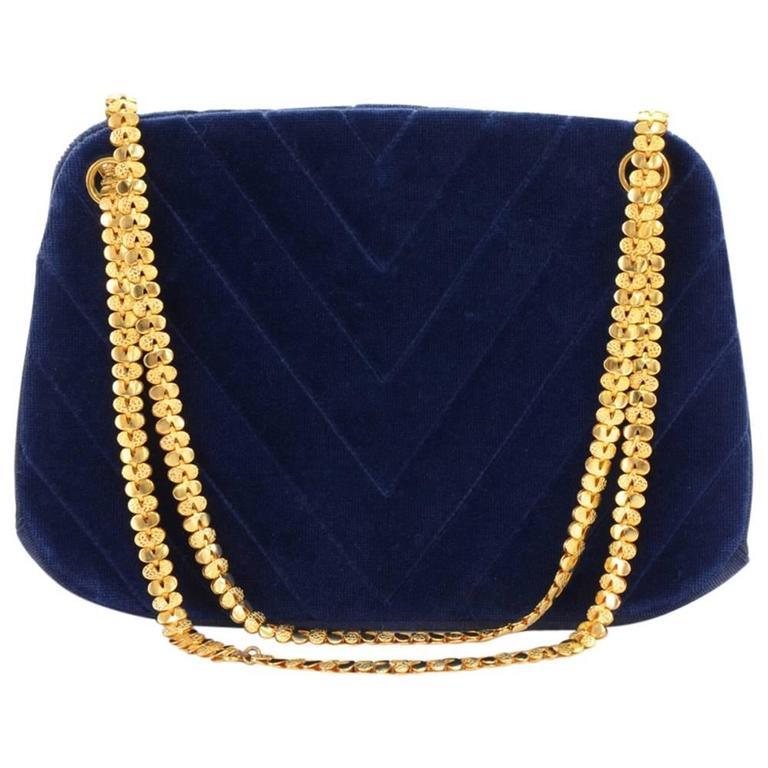 Chanel Blue Navy Quilted Velvet Shoulder Party Bag 1