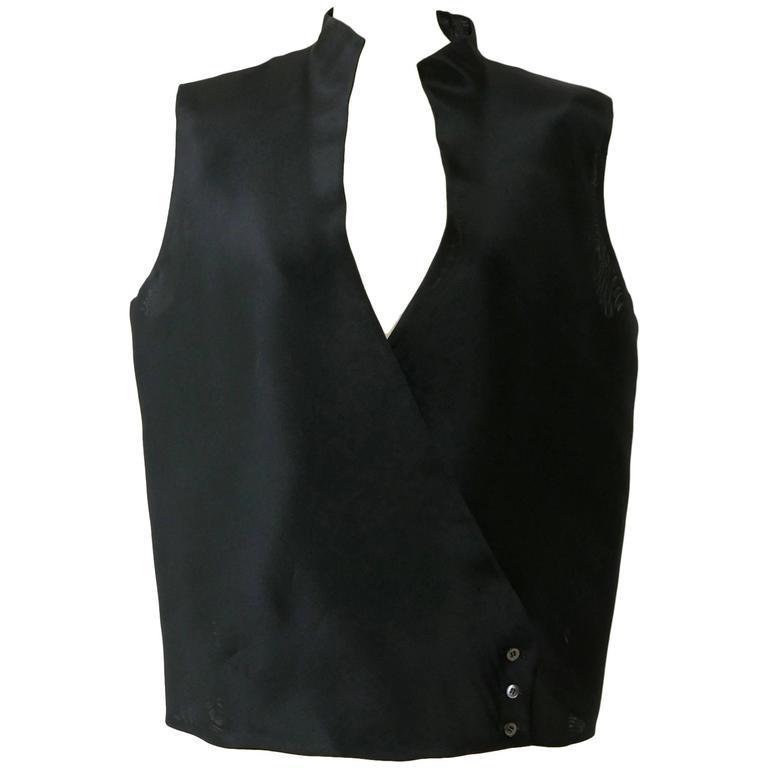 1990s GIANFRANCO FERRE' Black Minimal Vest 1