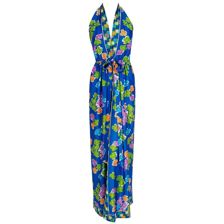 1977 Oscar de la Renta Colorful Silk-Jersey Print Halter Backless Maxi Dress