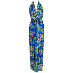 1970's Oscar de la Renta Colorful Silk-Jersey Print Halter Backless Maxi Dress