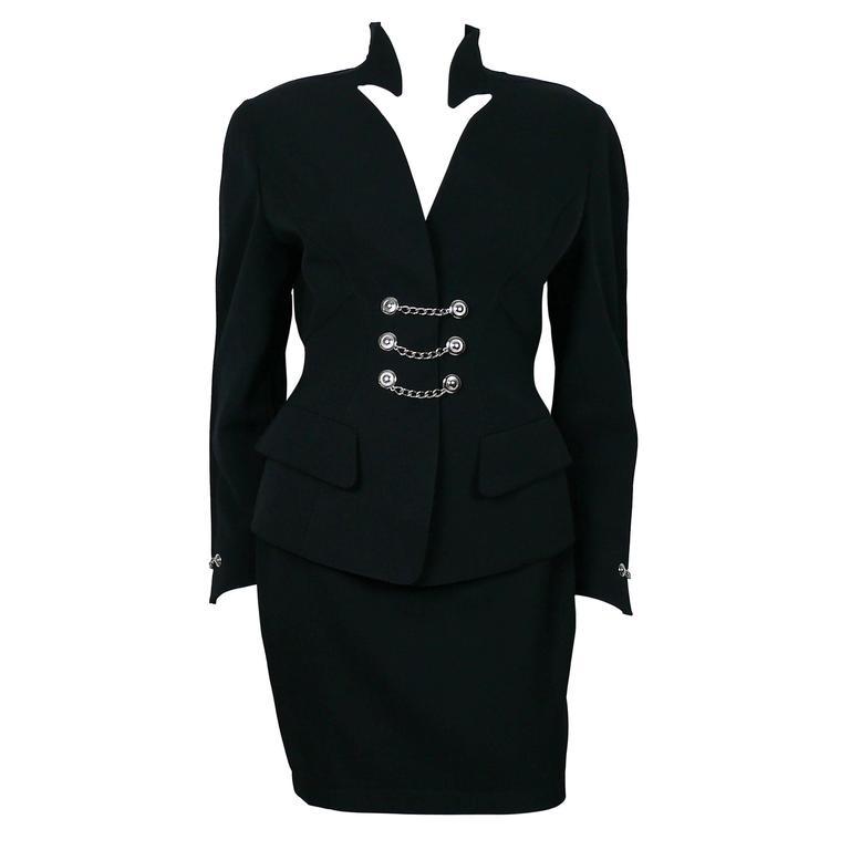 Thierry Mugler Vintage Black Wool Skirt Suit