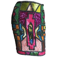 Todd Oldham Vintage Stain Glass Sequin Skirt
