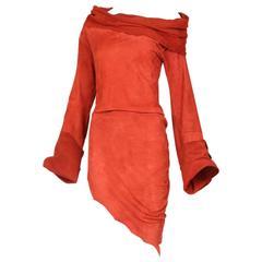 Vintage Jean Paul Gaultier Burnt Orange Suede Asymmetrical Tunic Dress