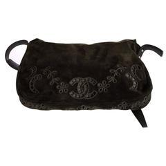 Runway Chanel Khaki Floral Suede Messenger Bag JaneFinds