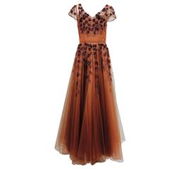1940s beaded & sequined cinnamon tulle evening gown