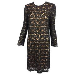 Vintage mod style beaded black floral lace nude lined cocktail dress 1960s