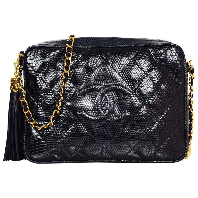 92c0ca0fbdf7 Chanel Vintage Navy Lizard Skin CC Camera Crossbody Bag GHW For Sale ...
