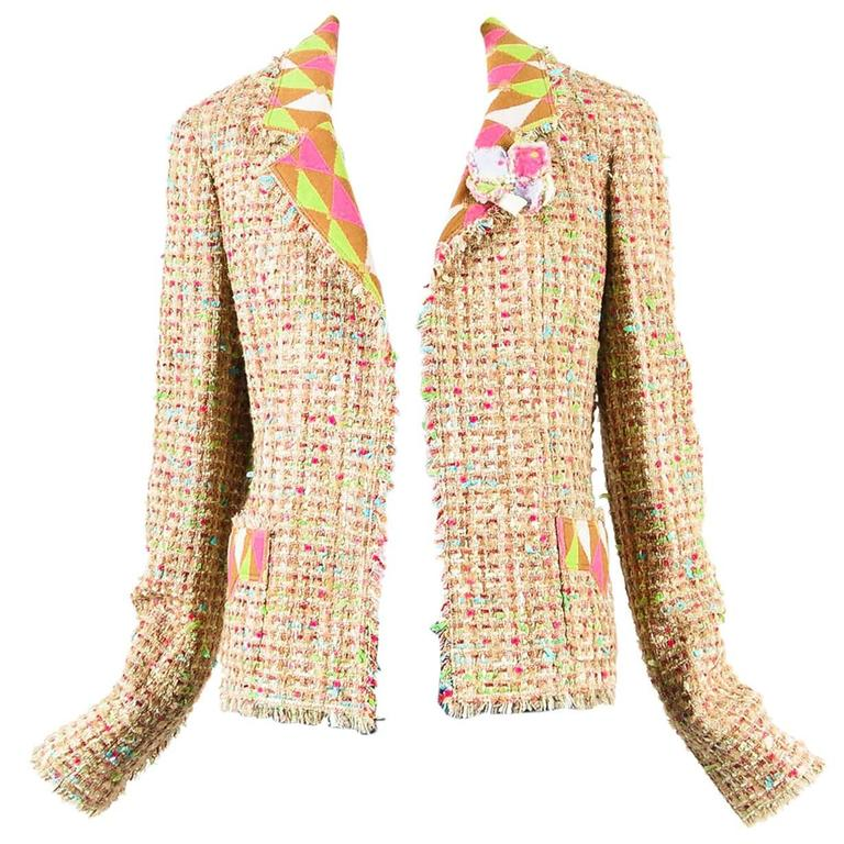 Chanel Tan Multicolor Wool Tweed LS Collared Fray Trim Open Jacket Size 44 1