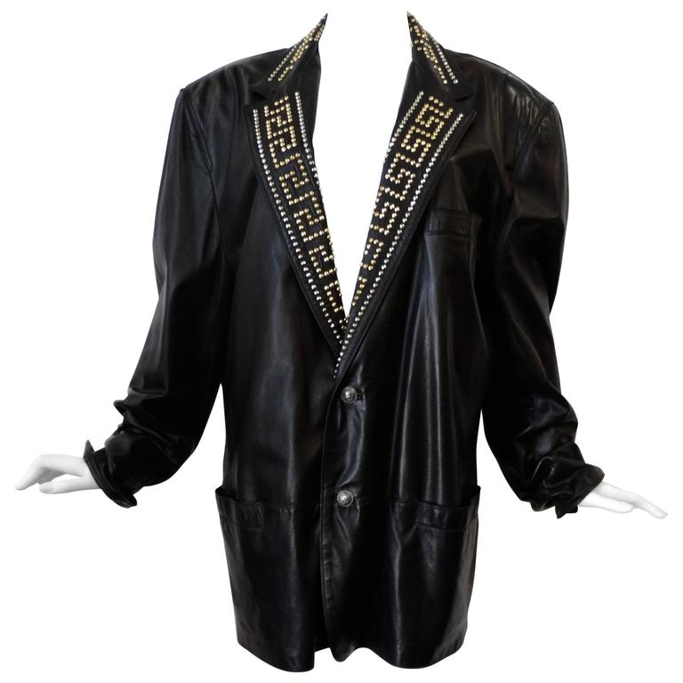 1990s GIANNI VERSACE COUTURE 1992 Black studded GREEK KEY Leather Jacket  1