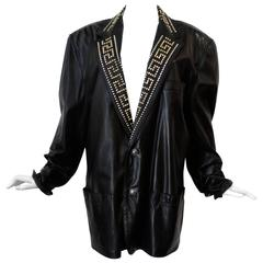 1990s GIANNI VERSACE COUTURE 1992 Black studded GREEK KEY Leather Jacket