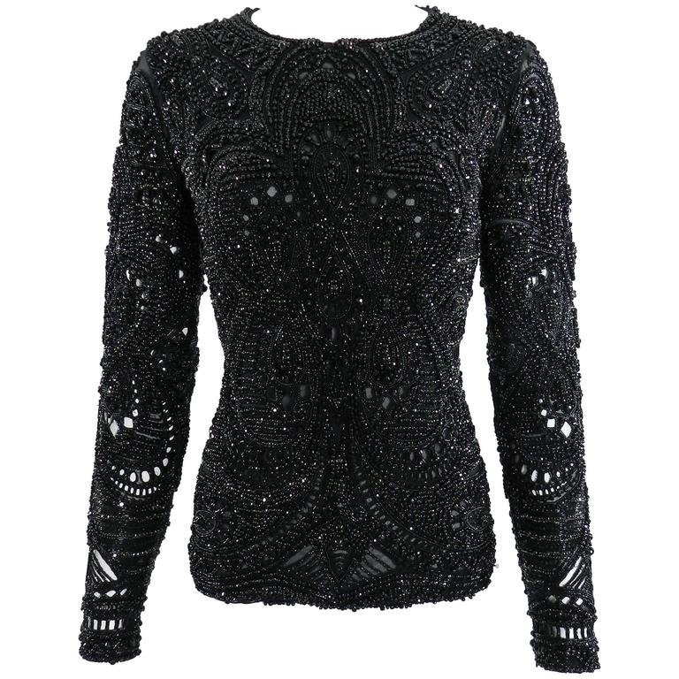 Emilio Pucci Fall 2013 Runway Heavily Beaded Black Evening Top / Shirt For Sale