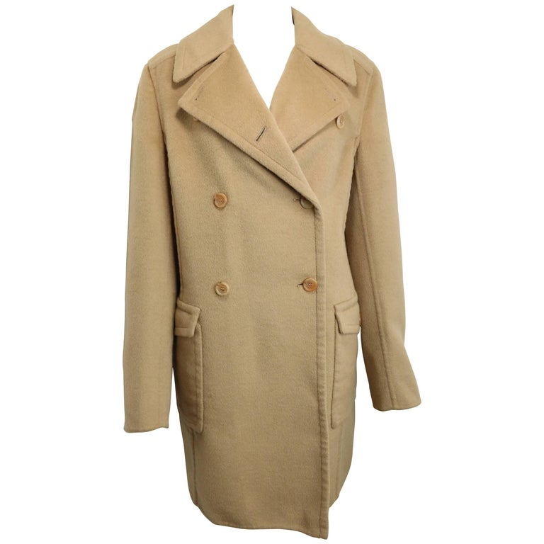 90s Prada Camel Wool Angora Goat Hair Double Breasted Coat  For Sale
