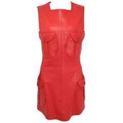 Iconic 90s Gianni Versace Red Leather Dress