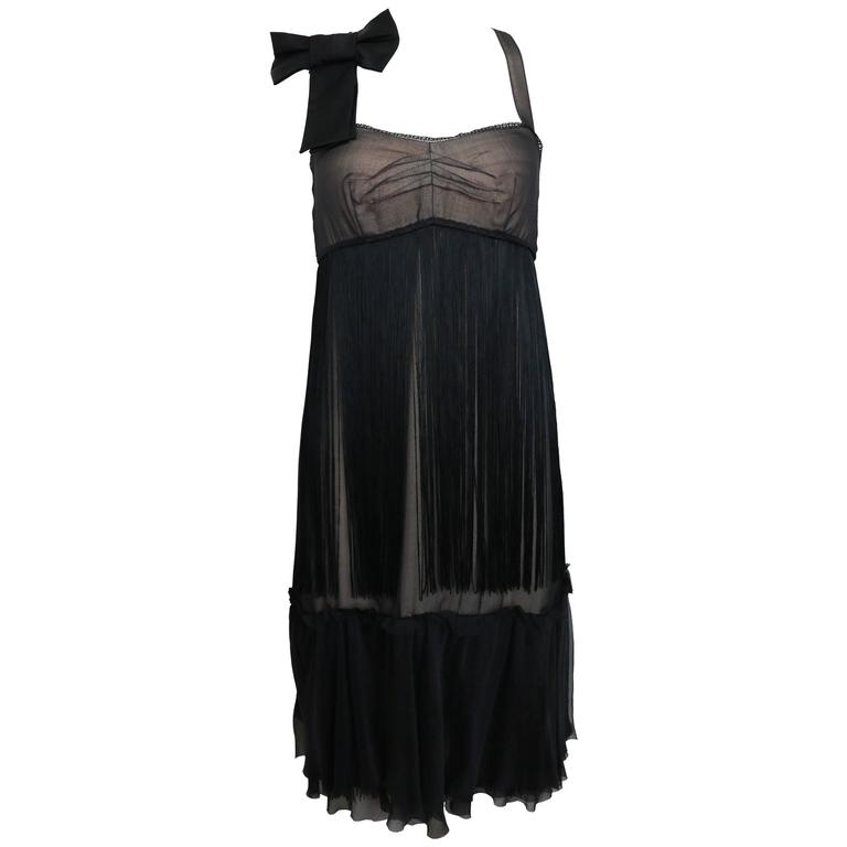 D&G by Dolce & Gabbana Black Sheer Silk Cocktail Dress