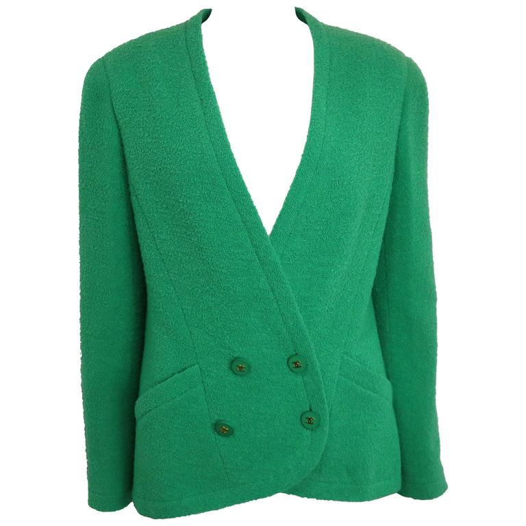 Chanel Green Boucle Wool Collarless Double Breasted Jacket  1