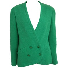 94 Chanel Green Boucle Wool Collarless Double Breasted Jacket