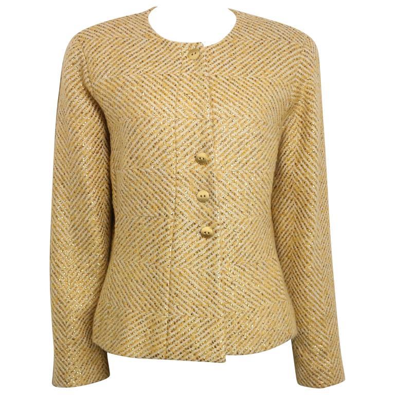 Chanel Gold Toned Metallic Glitter Cream Wool Chevron Tweed Shawl Jacket