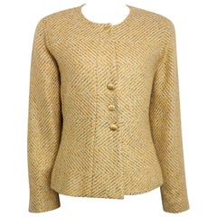 Chanel Gold Toned Metallic Glitter Wool Tweed Jacket