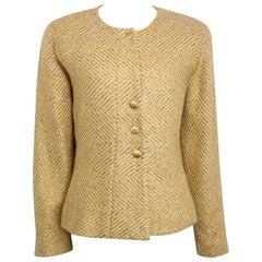 Chanel Gold Toned Metallic Glitter Wool Tweed Jacket