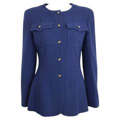 Chanel Dark Navy Collarless Boucle Wool Jacket