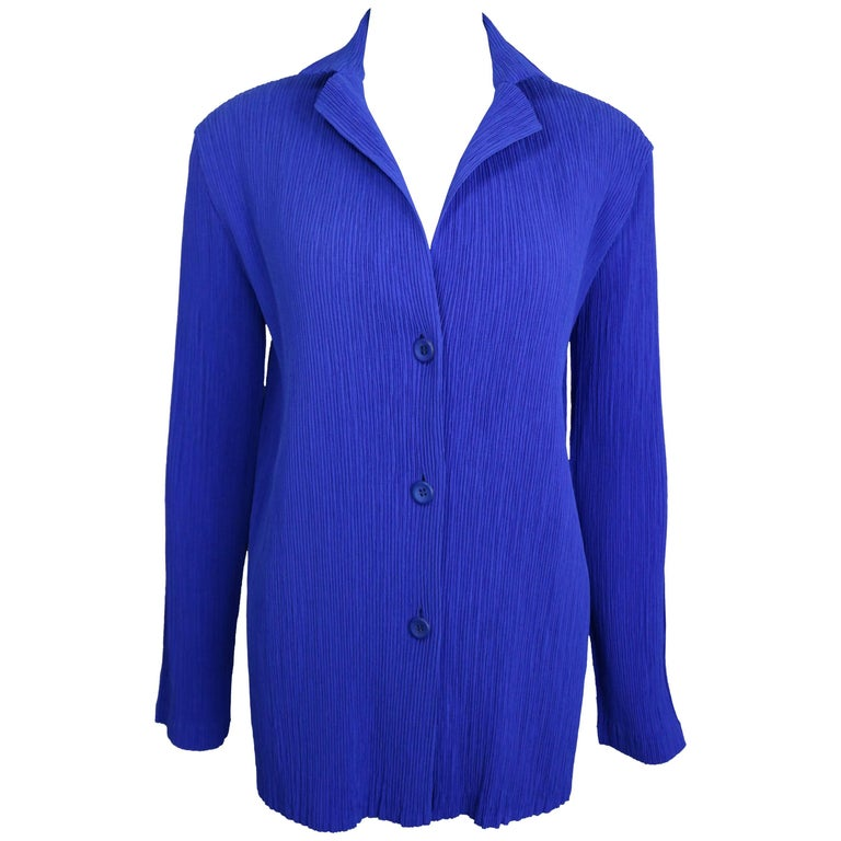 Issey Miyake Blue Pleated Jacket  For Sale