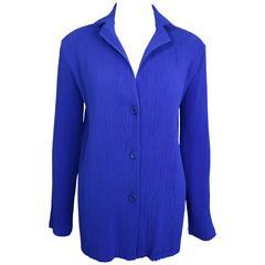 Issey Miyake Blue Pleated Jacket