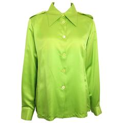 Gucci by Tom Ford Green Satin Silk Shirt